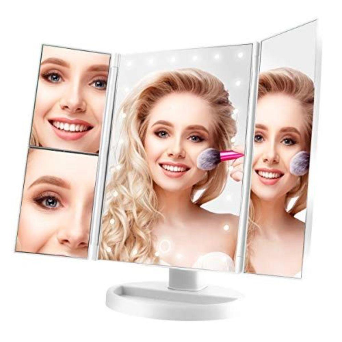 espejo de tocador inalambrico con luz led 2 1