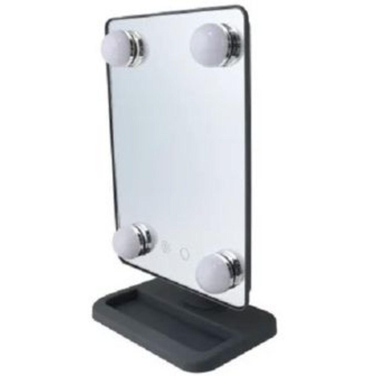 espejo portatil vivitar con luz calida y blanca hollywood 2 1