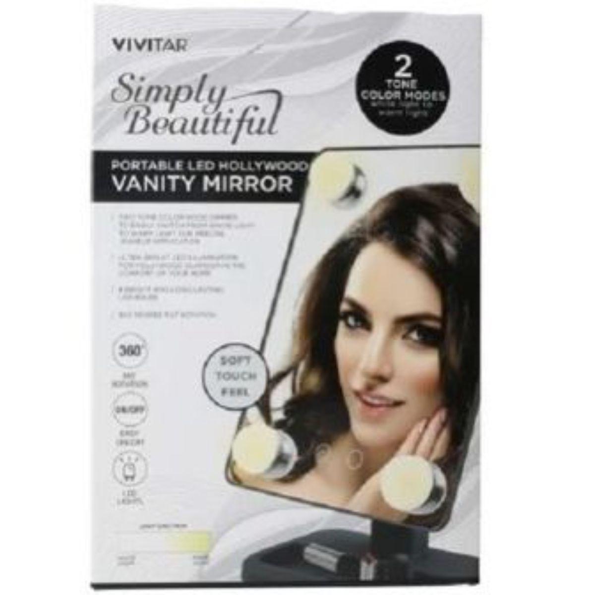 espejo portatil vivitar con luz calida y blanca hollywood 4 1