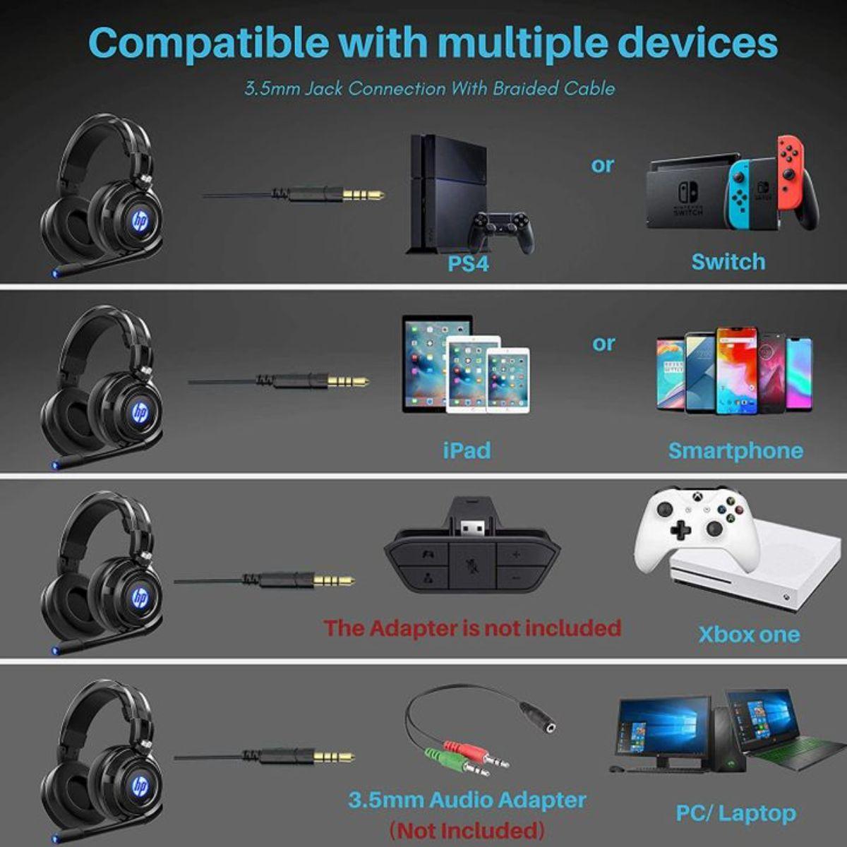hp auriculares estereo con cable para juegos con microfono 1