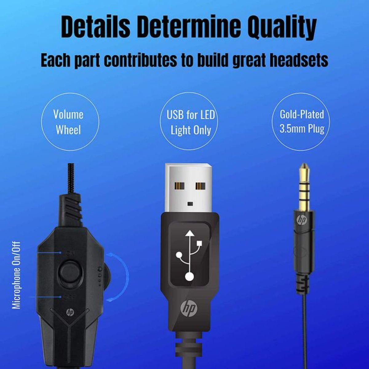 hp auriculares estereo con cable para juegos con microfono 2 1