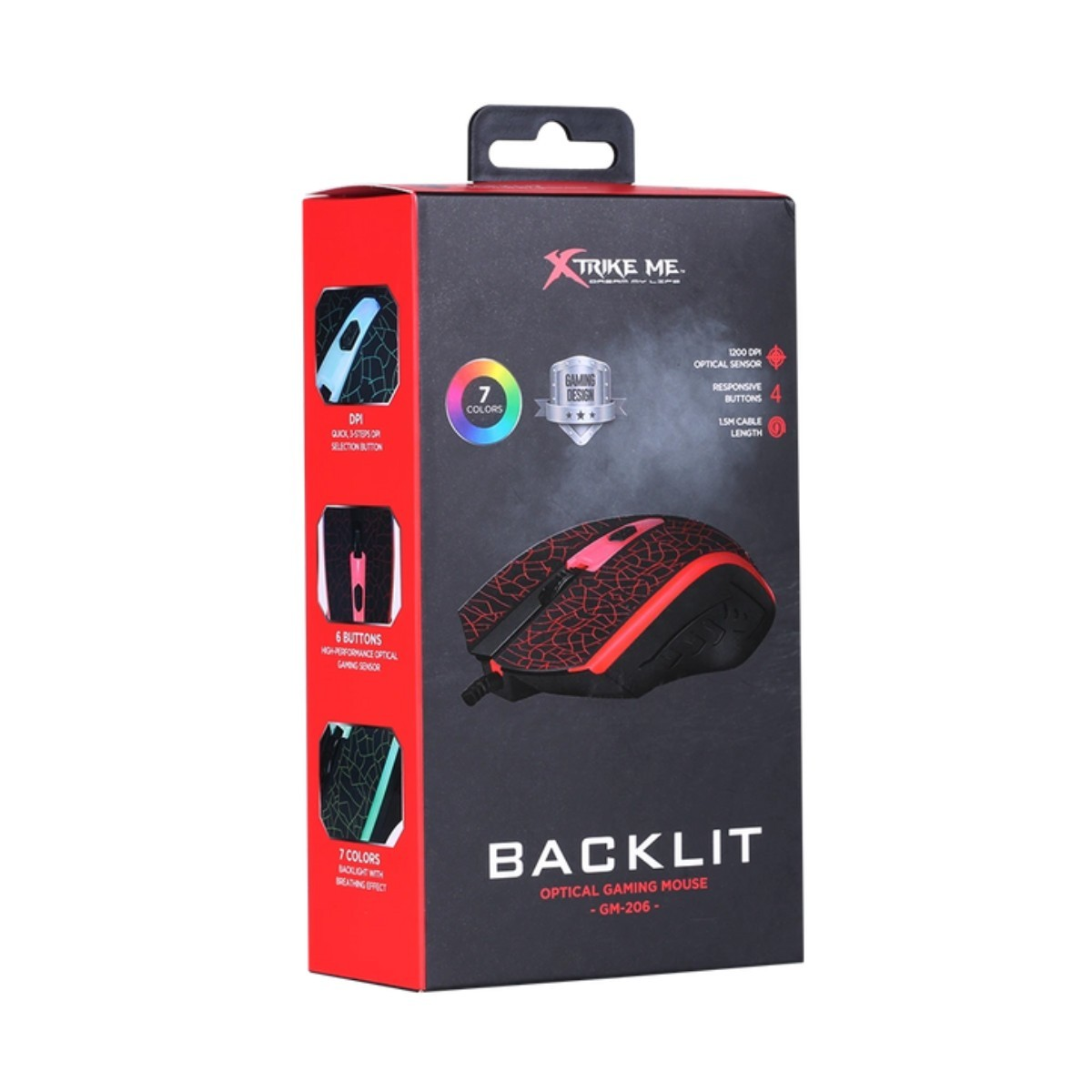 mouse usb gaming 7 colores xtrike me 5